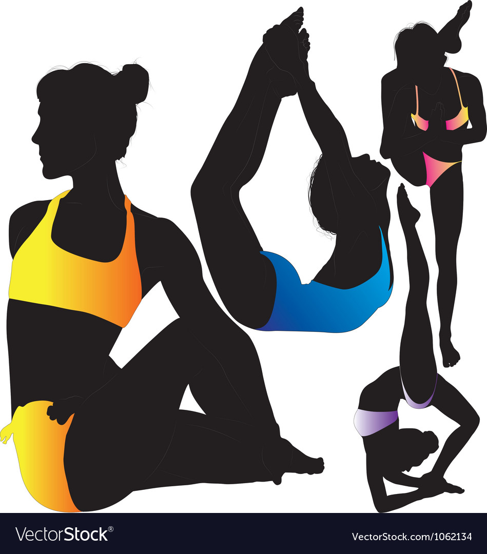 Yoga female gymnast silhouette vector | Price: 1 Credit (USD $1)