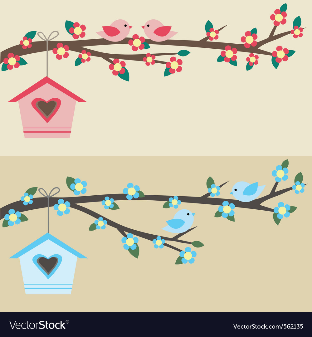 Birds on branch vector | Price: 1 Credit (USD $1)