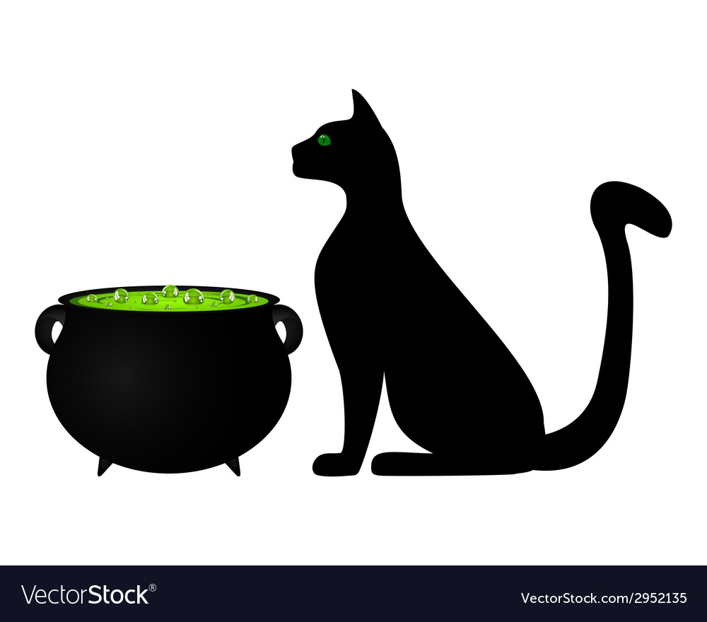 Cat and cauldron potion vector | Price: 1 Credit (USD $1)