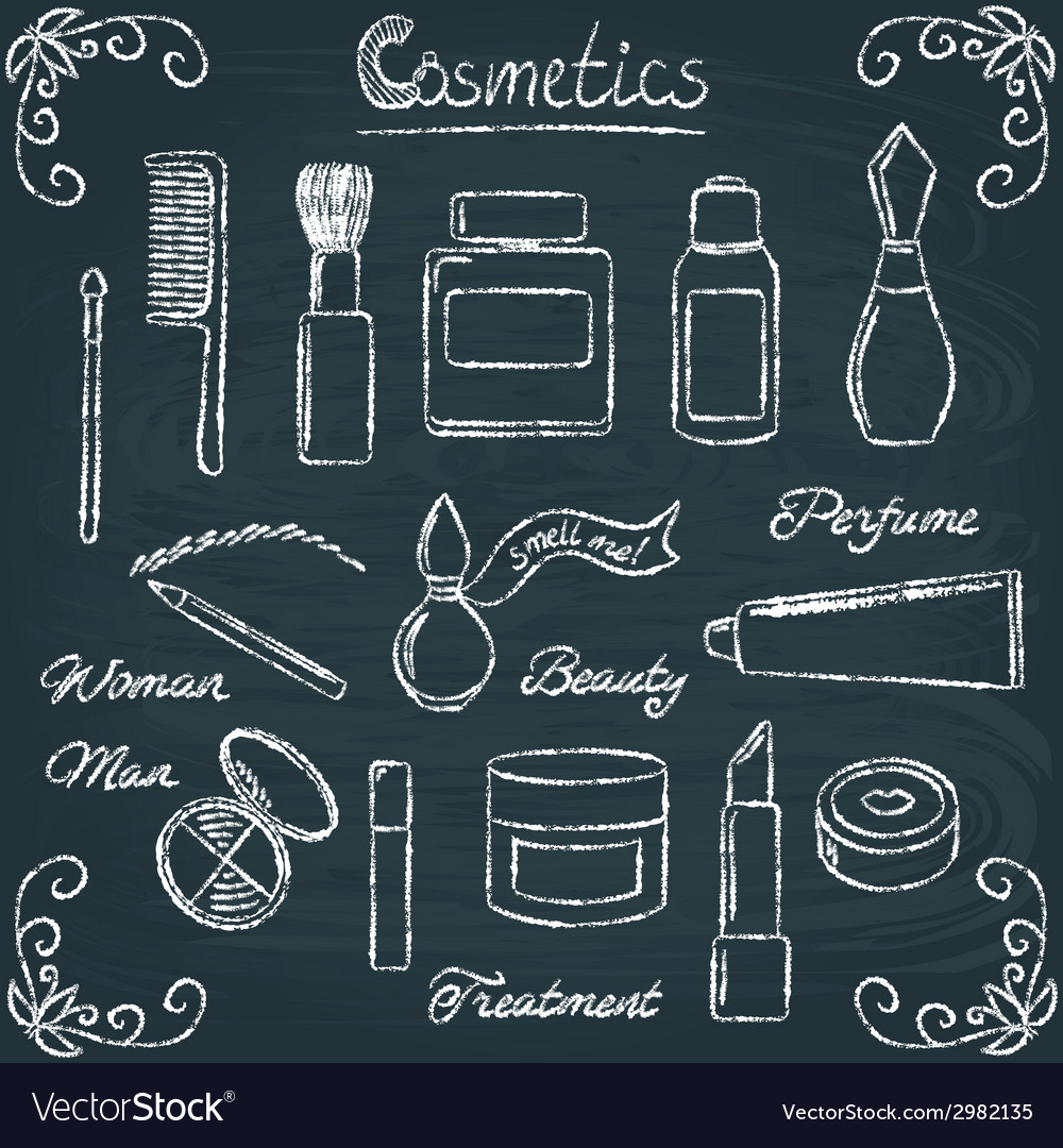 Chalkboard cosmetic bottles set 3 vector | Price: 1 Credit (USD $1)
