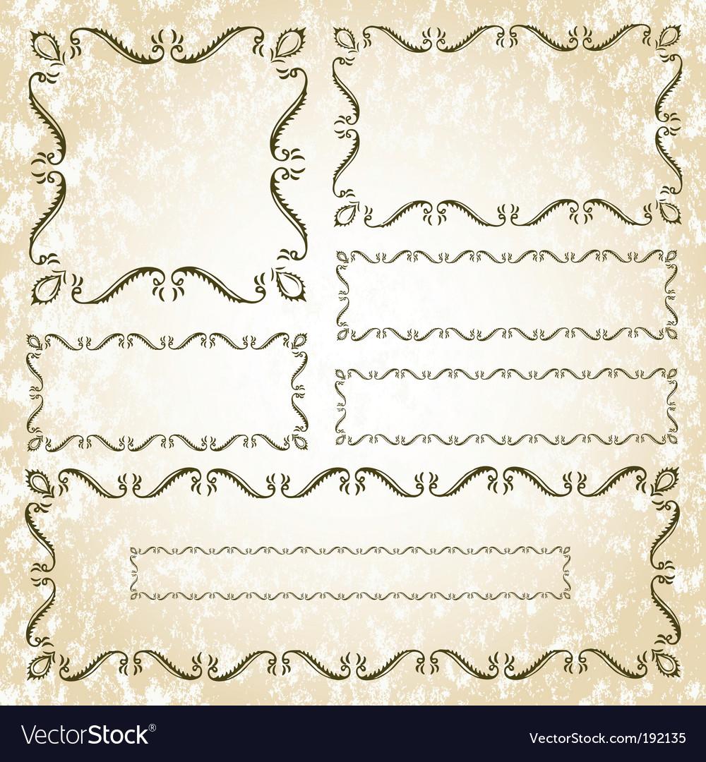 Floral leaf frame set vector | Price: 1 Credit (USD $1)