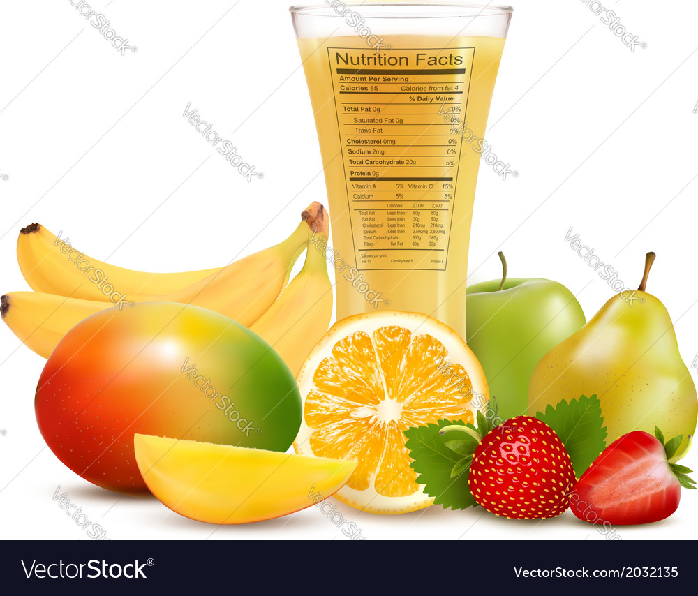 Fresh fruit and a glass of juice with a nutrition vector | Price: 1 Credit (USD $1)