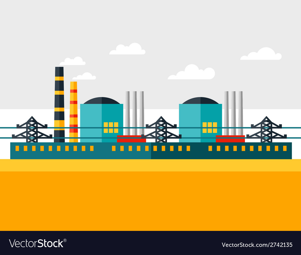 Industrial nuclear power plant in flat style vector | Price: 1 Credit (USD $1)