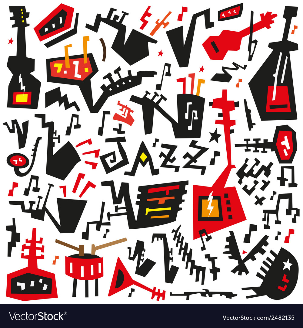 Jazz instruments - doodles set vector | Price: 1 Credit (USD $1)