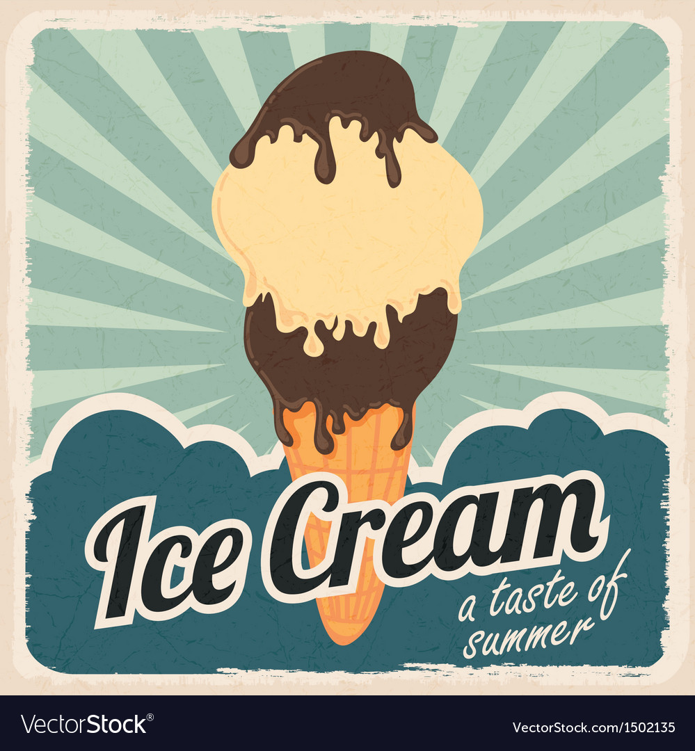 Retro ice cream poster vector | Price: 1 Credit (USD $1)
