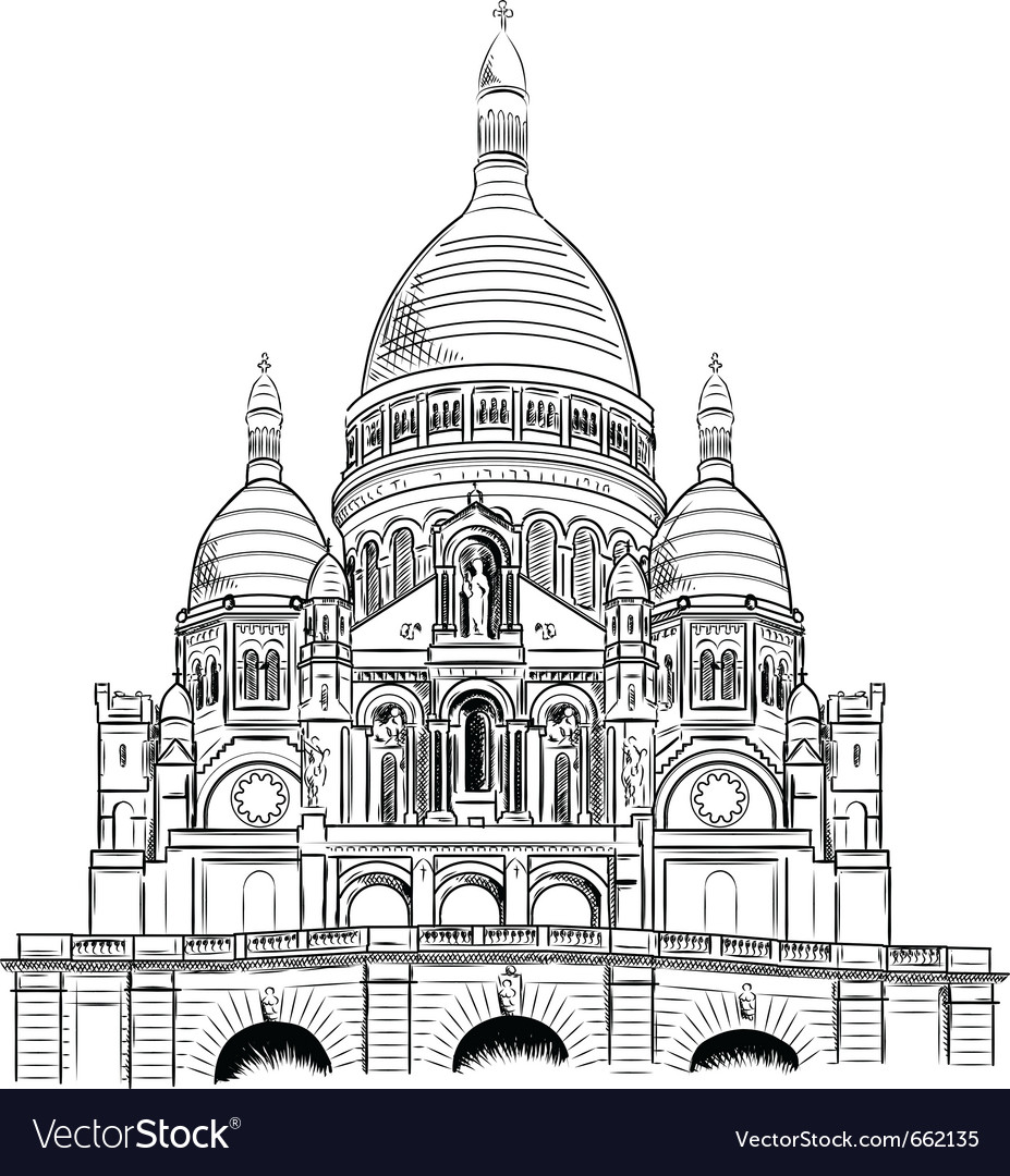 Sacre coeur isolated on the white vector | Price: 3 Credit (USD $3)