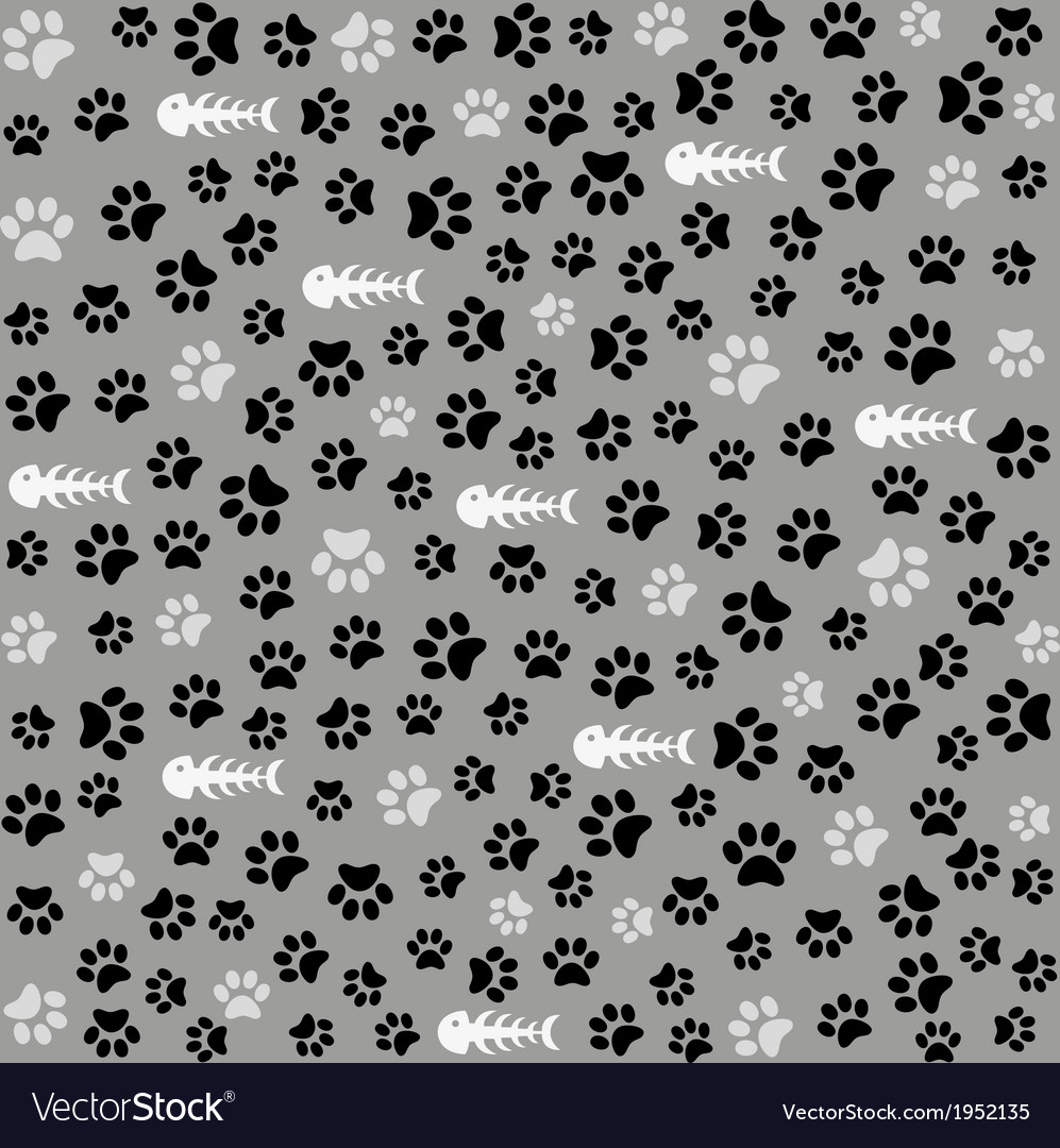 Seamless animal pattern of paw footprint vector | Price: 1 Credit (USD $1)