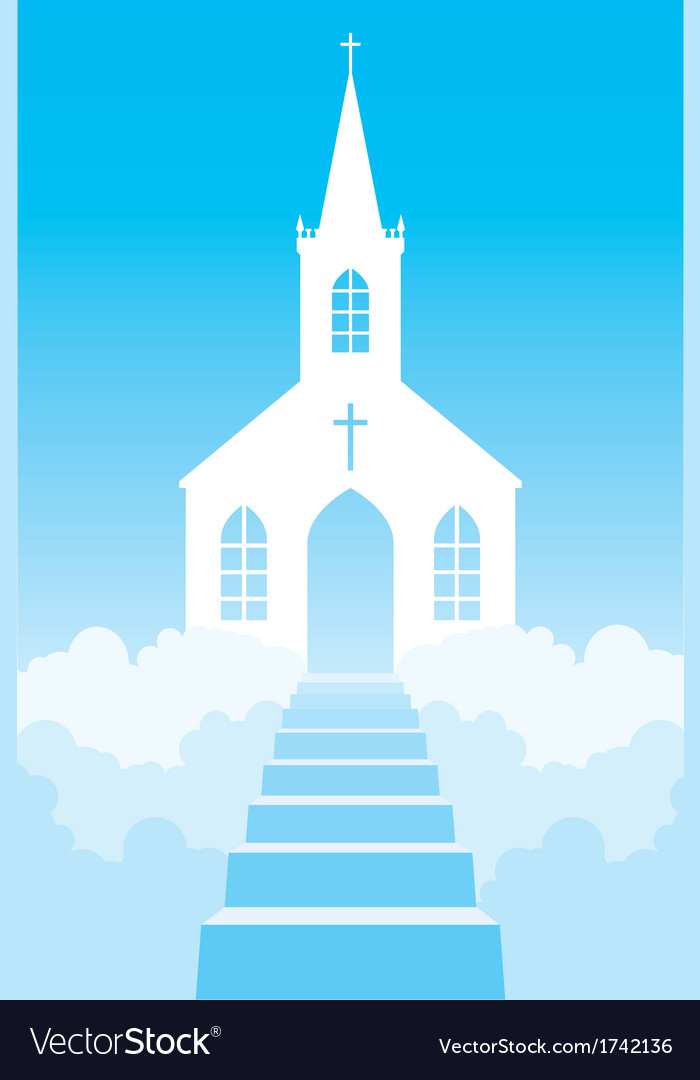 Church in clouds vector | Price: 1 Credit (USD $1)