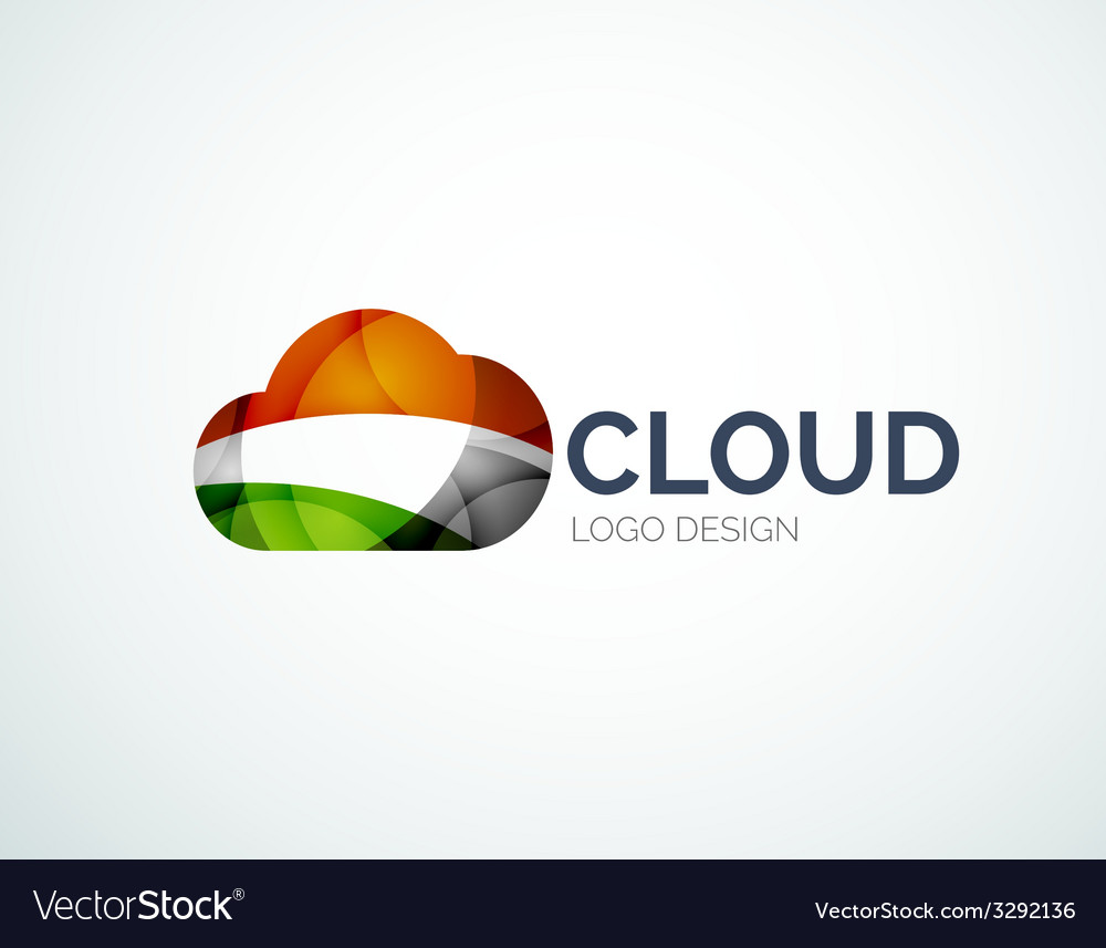 Cloud storage logotype set flat design vector | Price: 1 Credit (USD $1)