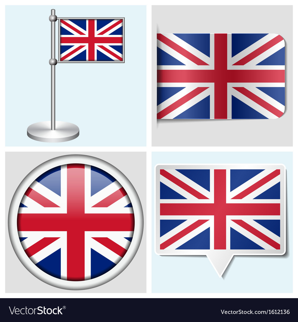 Great britain flag - sticker button label vector | Price: 1 Credit (USD $1)