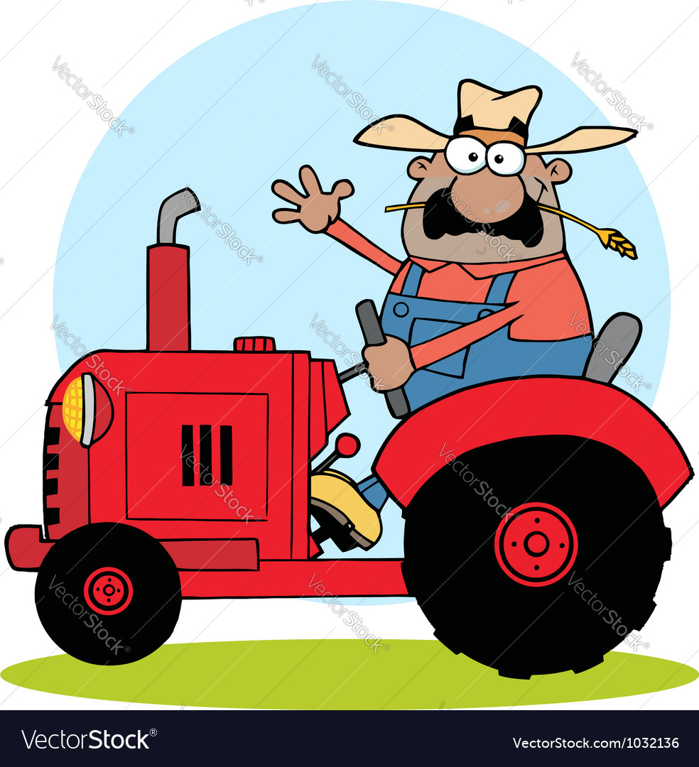 Hispanic farmer waving and driving a red tractor vector | Price: 1 Credit (USD $1)