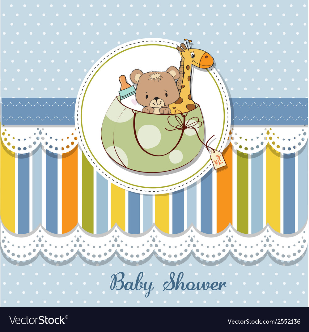 New baby announcement card with bag and same toys vector | Price: 1 Credit (USD $1)