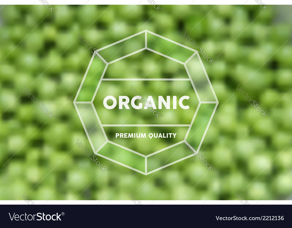 Organic food retro label peas blurred background vector | Price: 1 Credit (USD $1)
