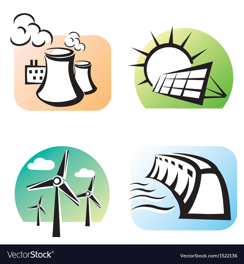 Power plants set icons vector | Price: 1 Credit (USD $1)