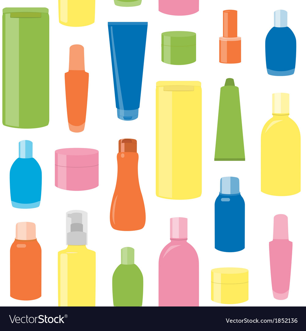 Seamless pattern with cosmetic bottles vector | Price: 1 Credit (USD $1)