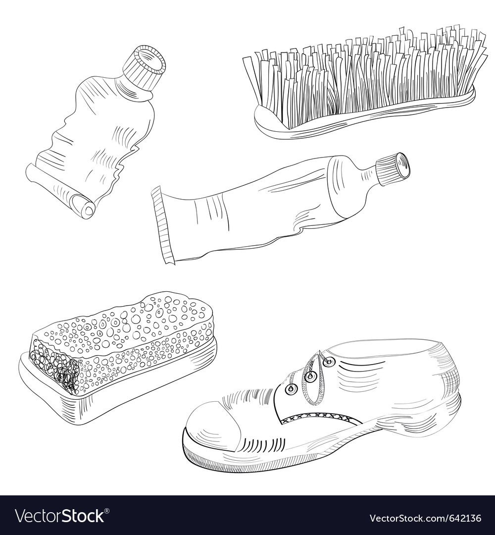 Sketch with shoes accessories vector | Price: 3 Credit (USD $3)