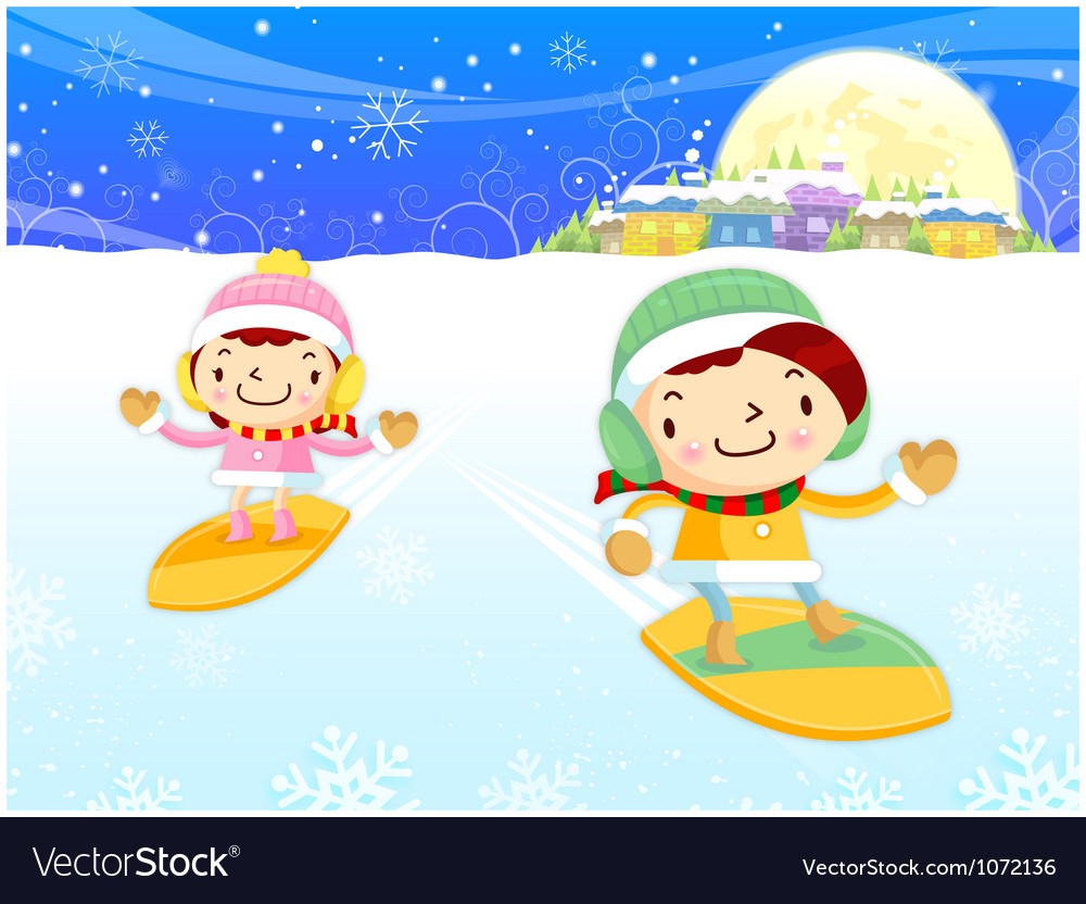 Snowboarding to play boys and girls winter season vector | Price: 3 Credit (USD $3)