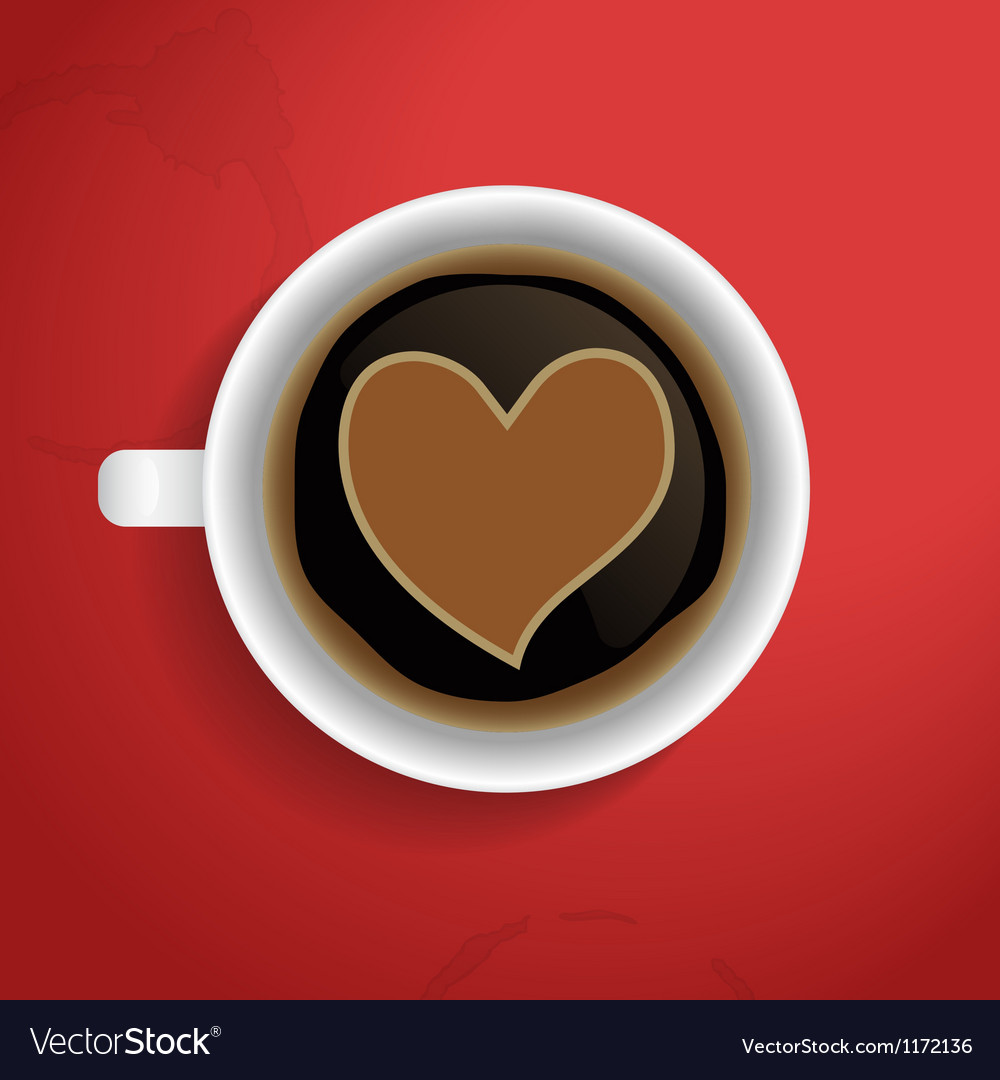 Valentines heart in coffee cup vector | Price: 1 Credit (USD $1)