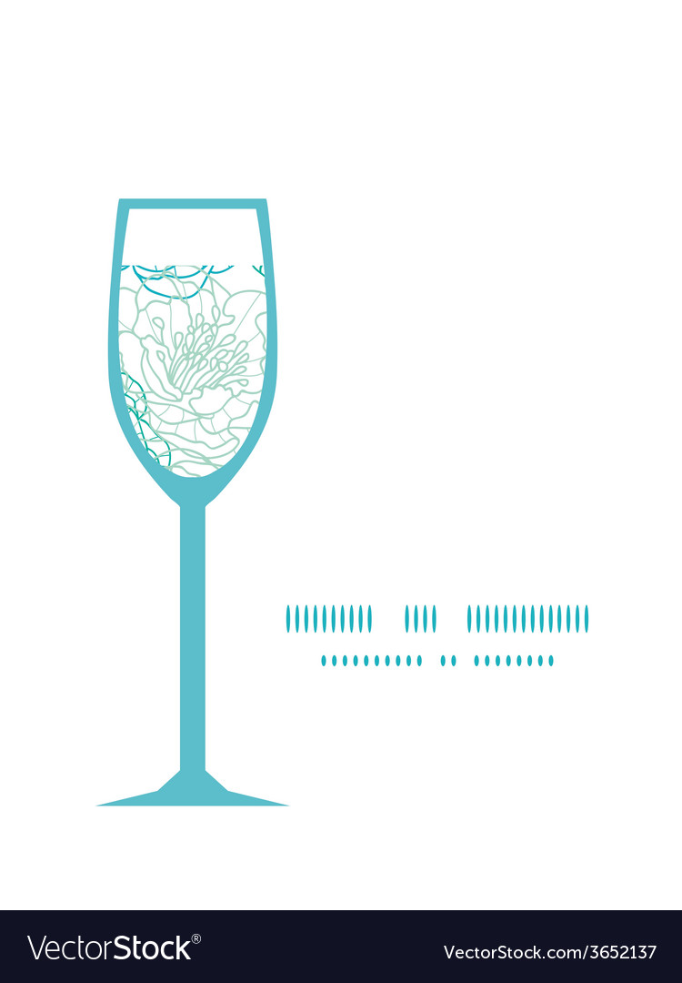 Blue line art flowers wine glass silhouette vector | Price: 1 Credit (USD $1)