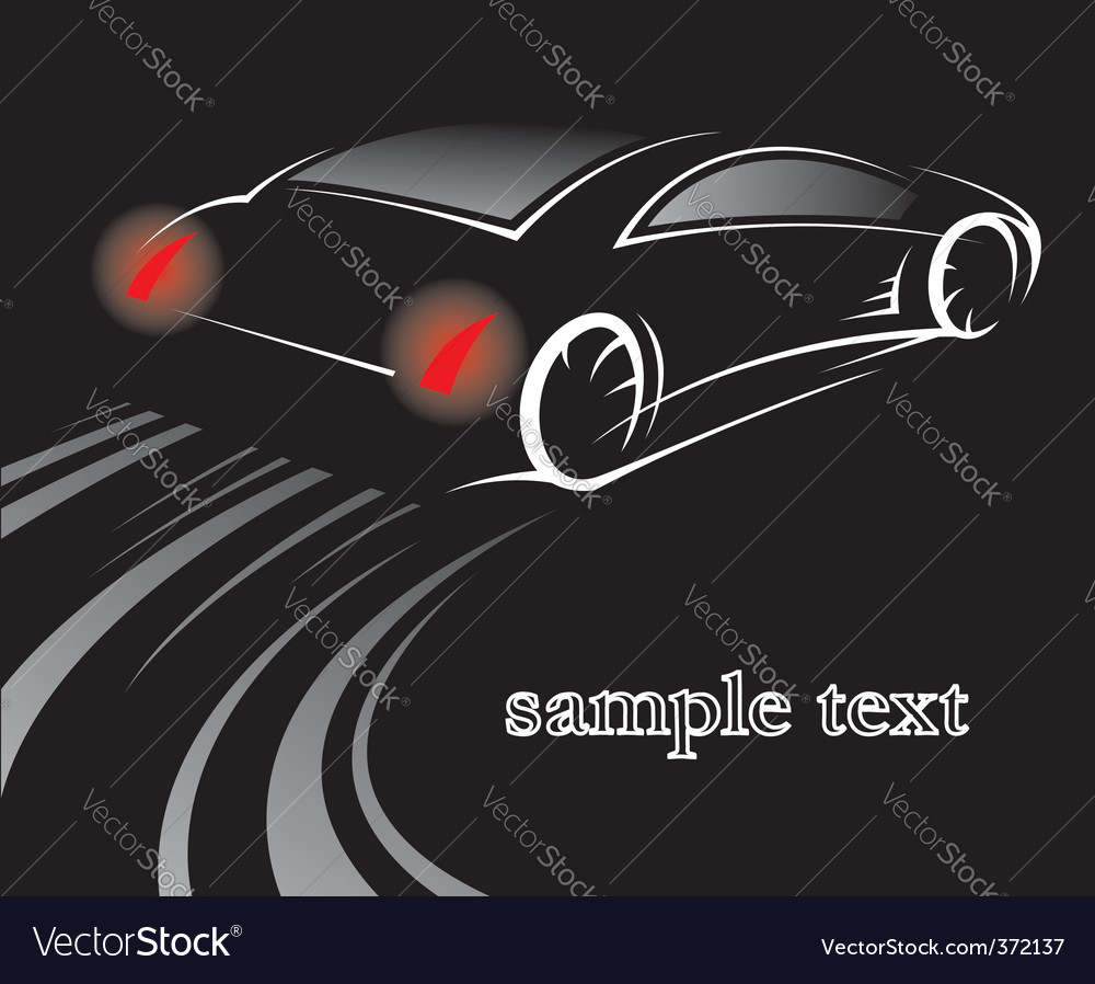Car on black vector | Price: 1 Credit (USD $1)