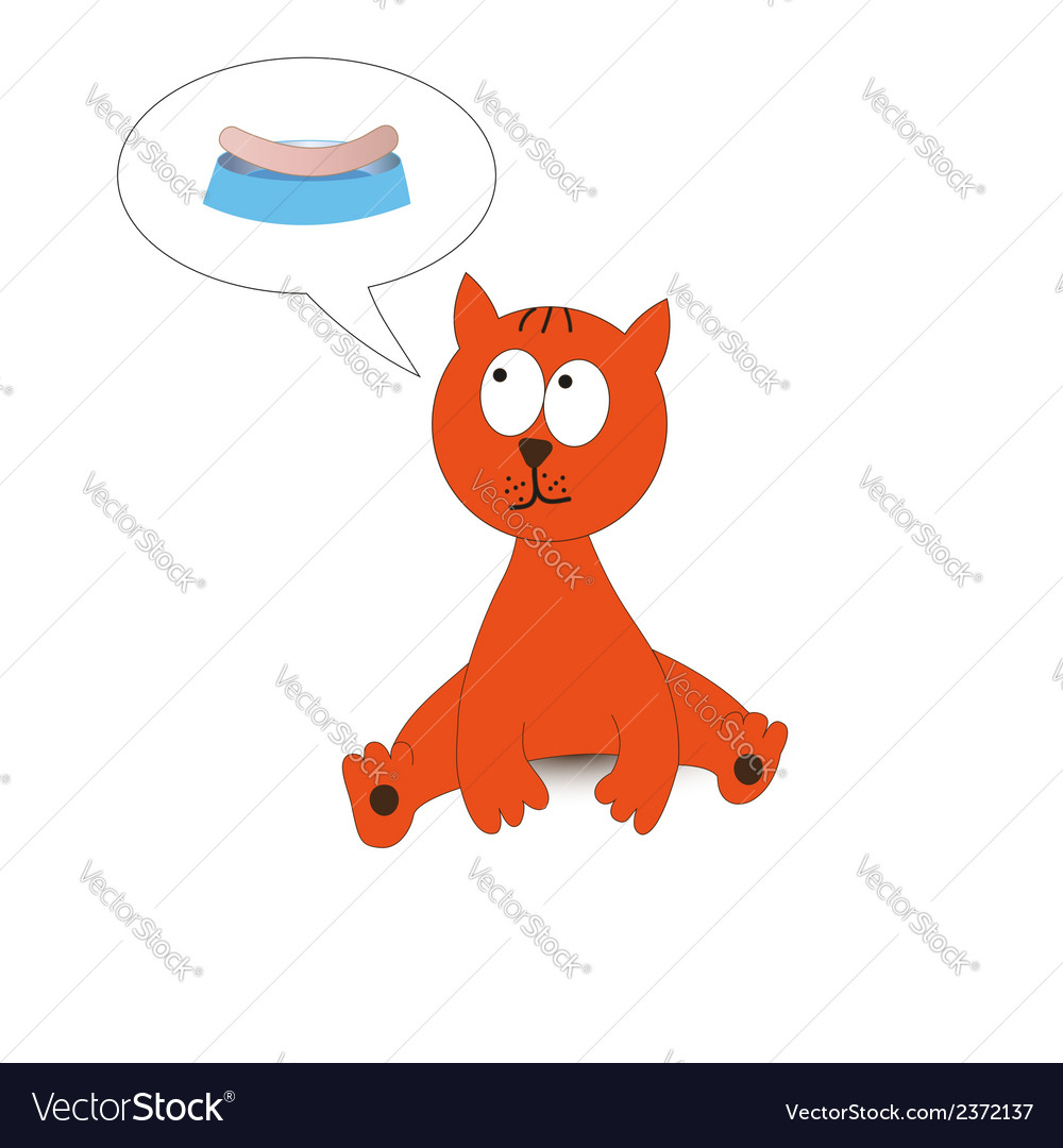 Cat dreaming about sausage vector | Price: 1 Credit (USD $1)