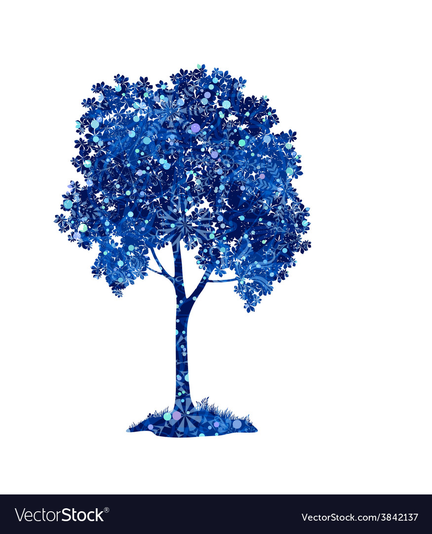Chestnut blue tree with christmas snowflakes vector | Price: 1 Credit (USD $1)