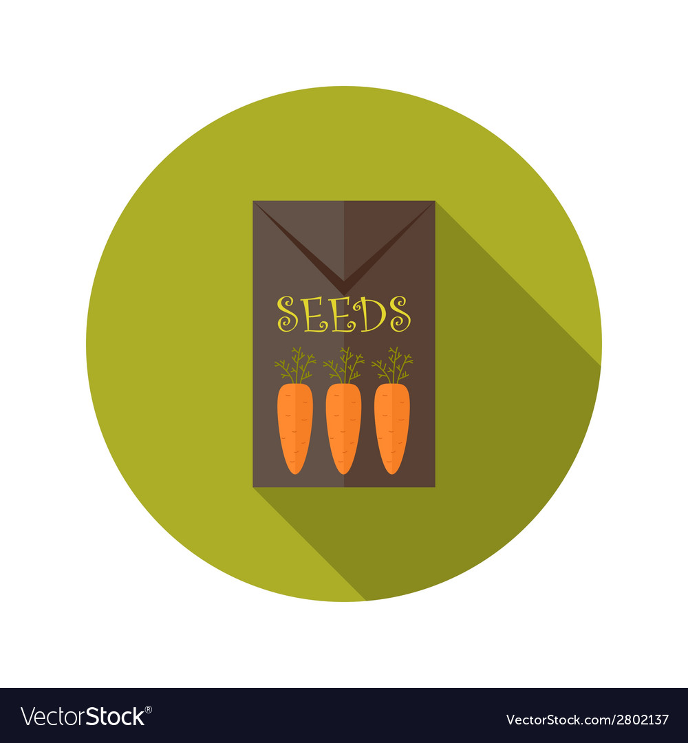 Pack with carrot seeds flat icon vector | Price: 1 Credit (USD $1)