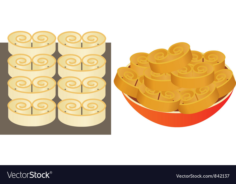 Pastry on a baking sheet and on plate vector | Price: 1 Credit (USD $1)