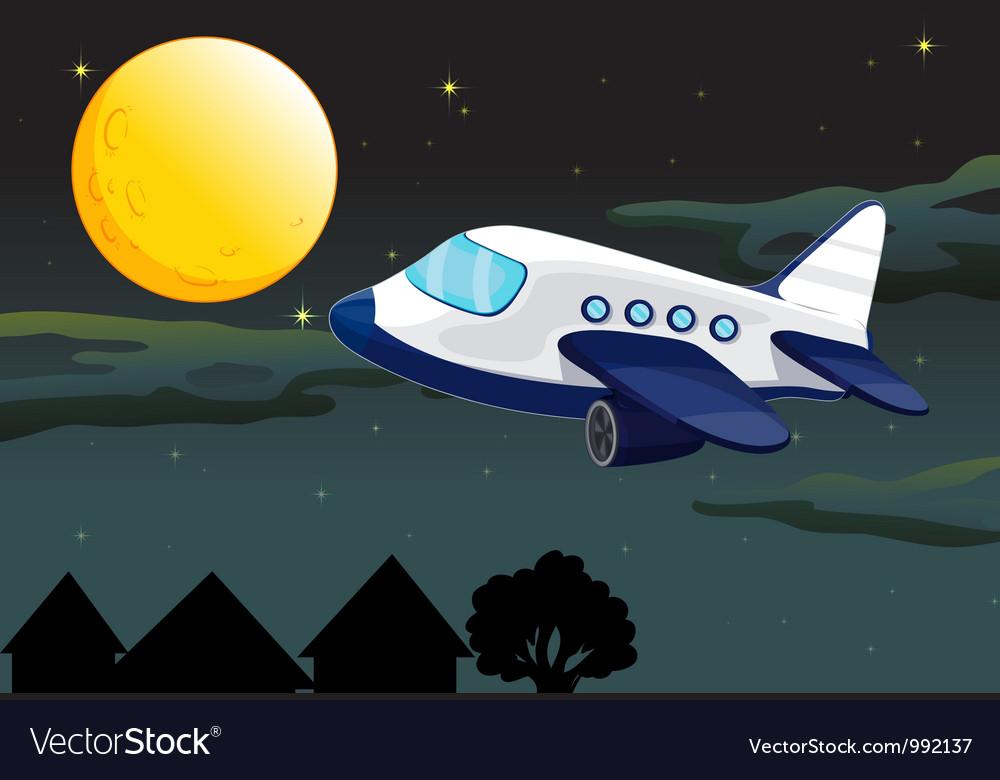 Plane night flying vector   Price: 1 Credit (USD $1)
