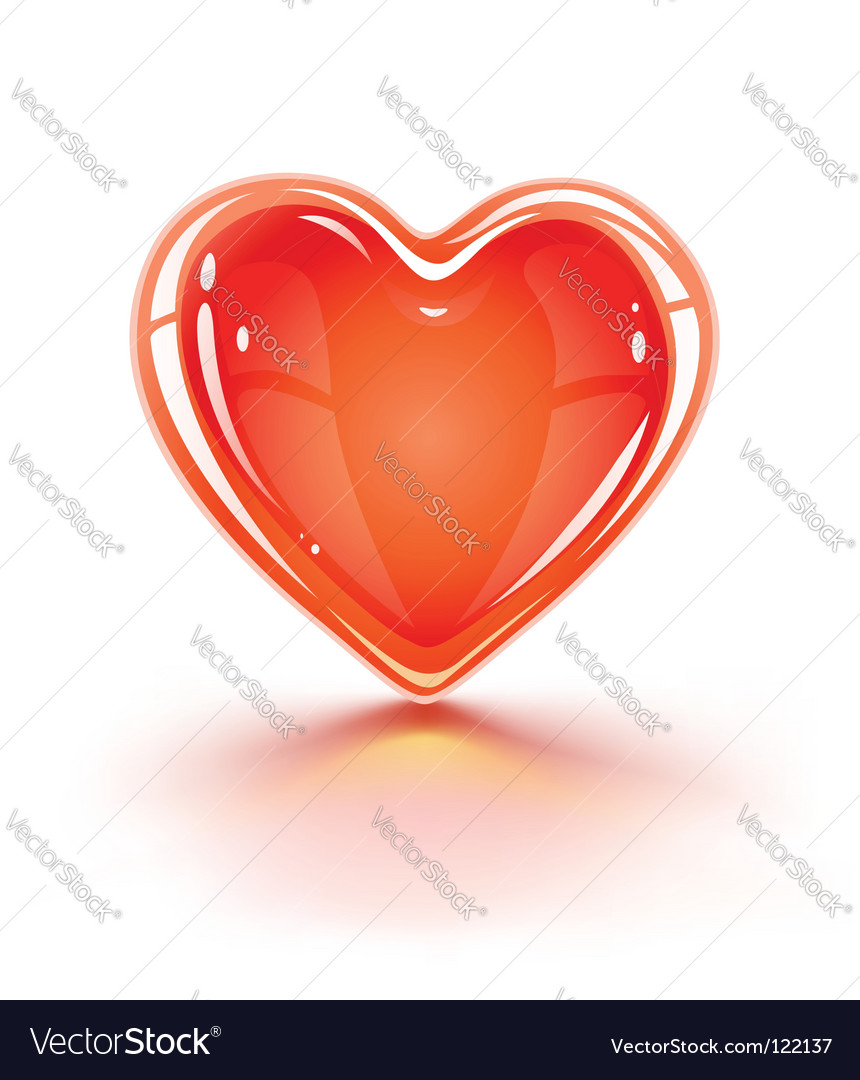 Red glossy valentines love heart vector | Price: 1 Credit (USD $1)