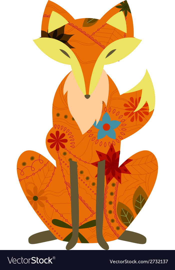 Retro fox vector | Price: 1 Credit (USD $1)