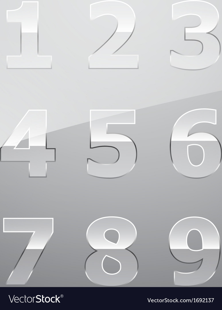 Set of transparent glass numbers vector | Price: 1 Credit (USD $1)