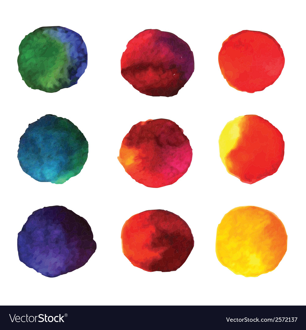 Set of watercolor hand painted gradient circles vector | Price: 1 Credit (USD $1)
