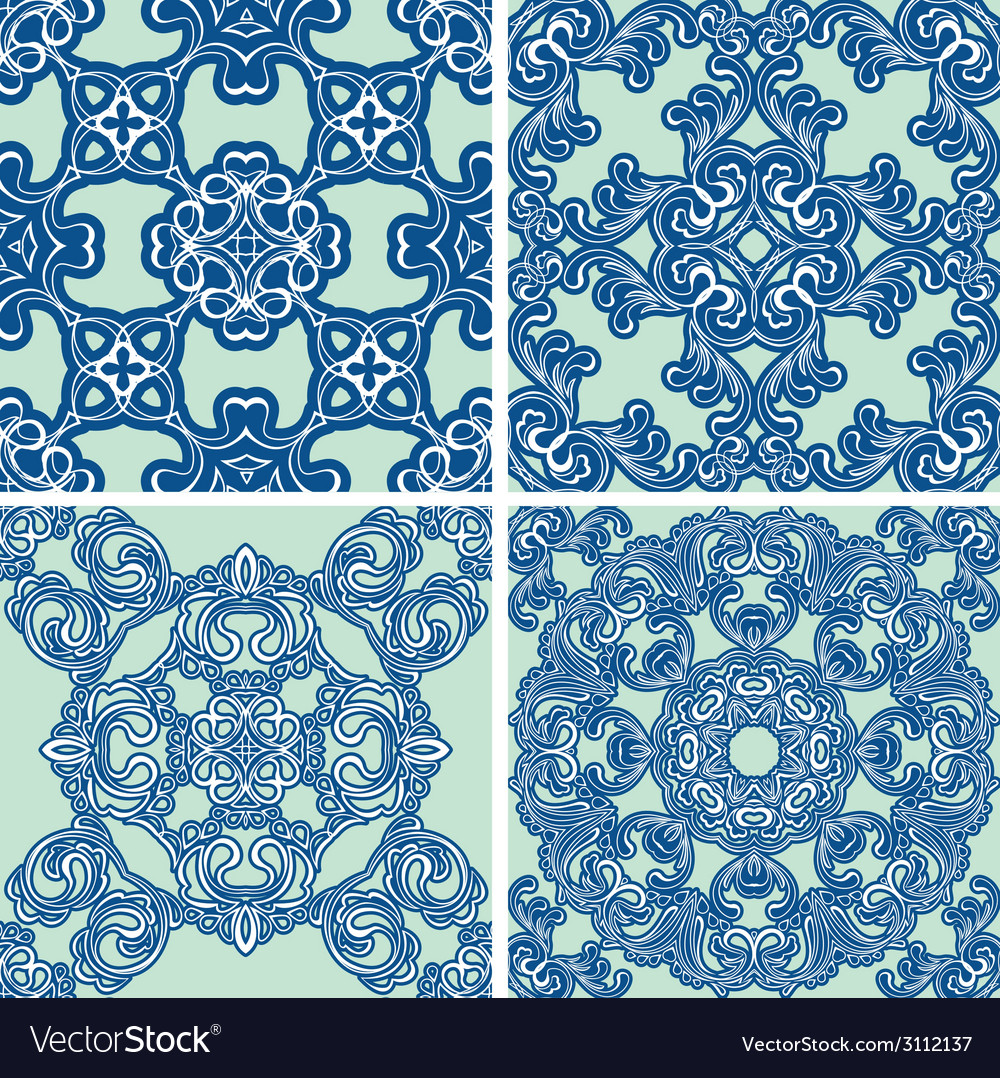 Set ornament blue 380 vector | Price: 1 Credit (USD $1)