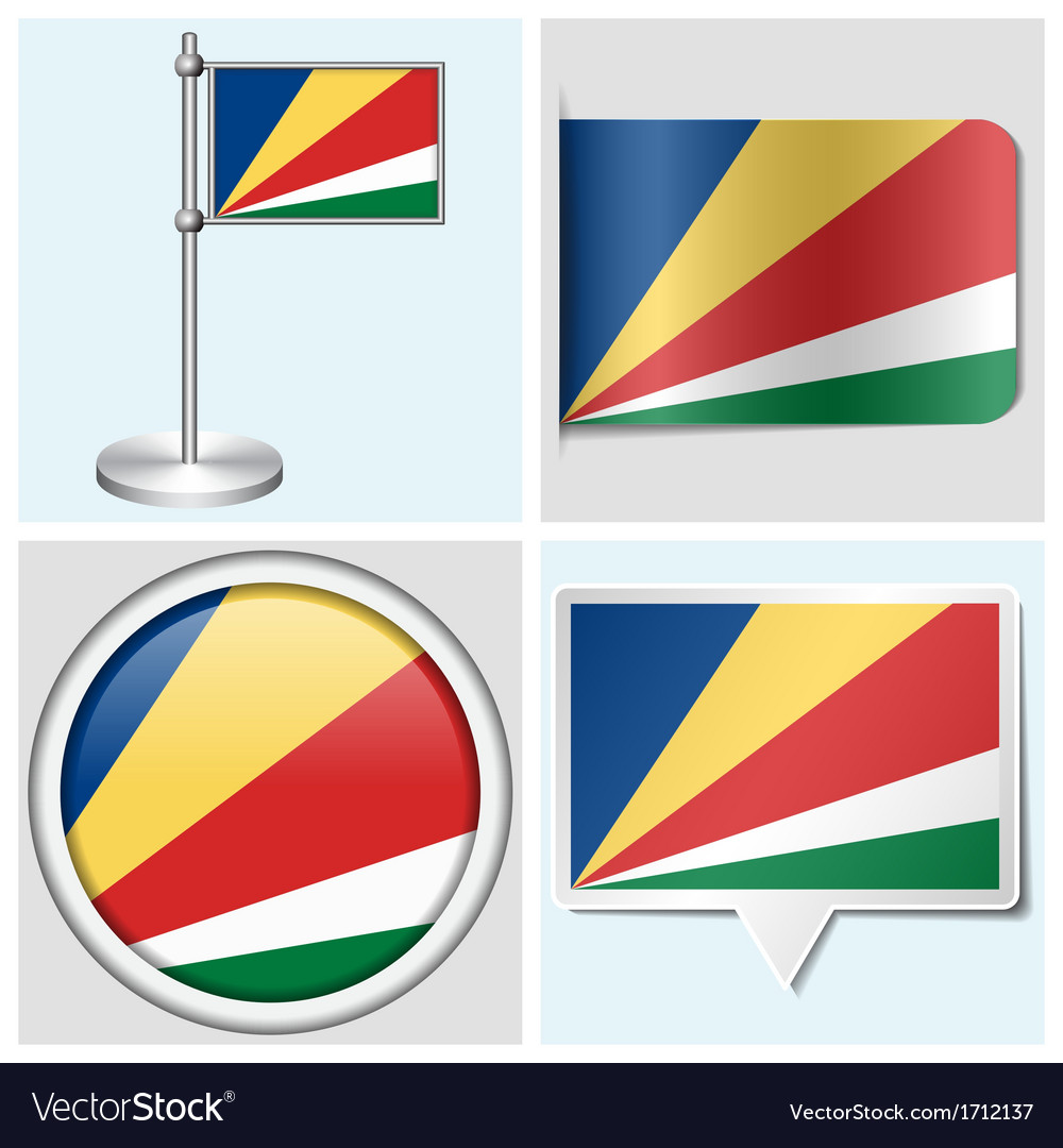 Seychelles flag - sticker button label vector | Price: 1 Credit (USD $1)