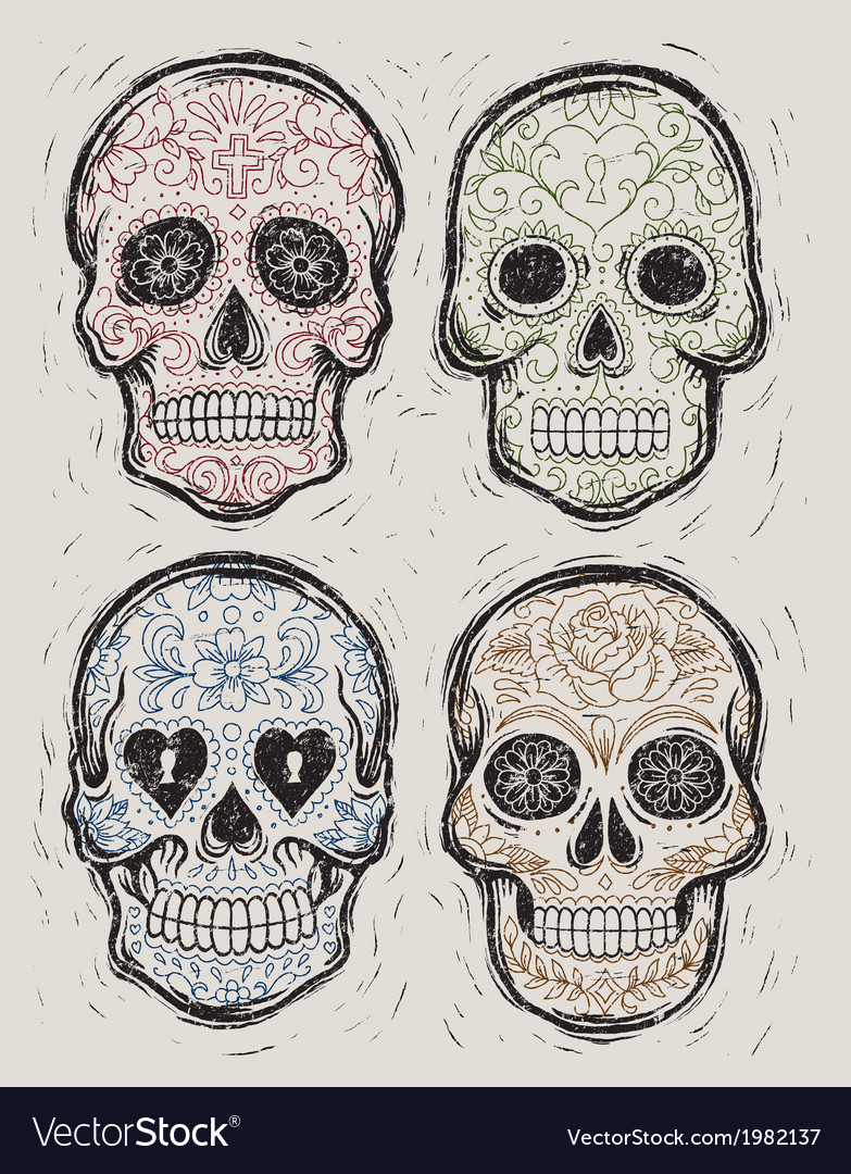 Woodcut day of the dead sugar skull set vector | Price: 1 Credit (USD $1)