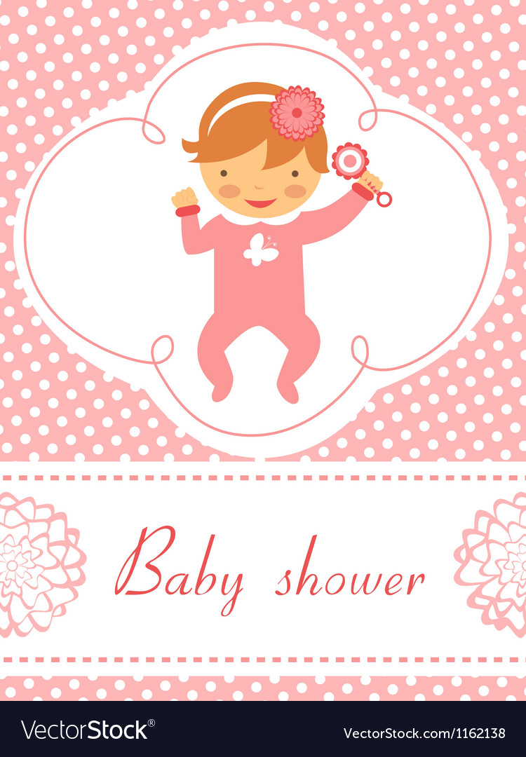 Baby shower girl with rattle vector | Price: 1 Credit (USD $1)
