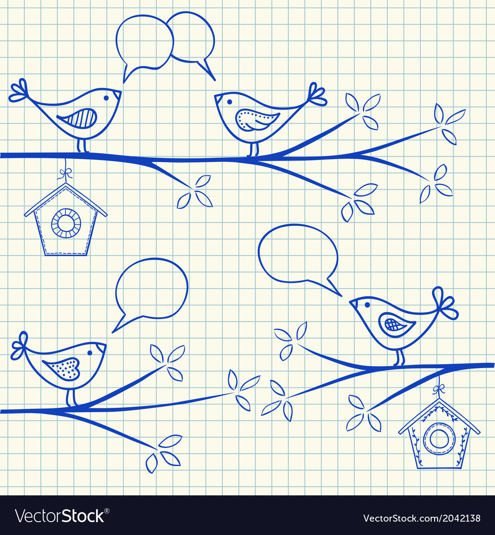 Birds sitting on a branch with birdhouse vector | Price: 1 Credit (USD $1)