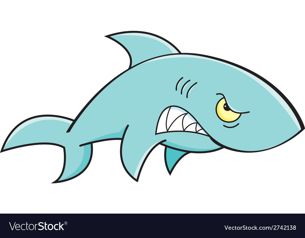 Cartoon angry shark vector | Price: 1 Credit (USD $1)