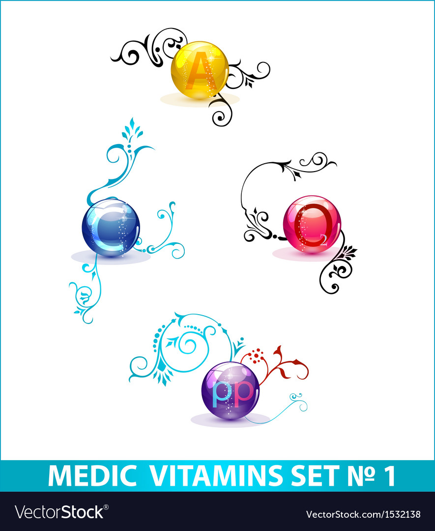 Colored shiny medic circle pills set isolated vector | Price: 1 Credit (USD $1)