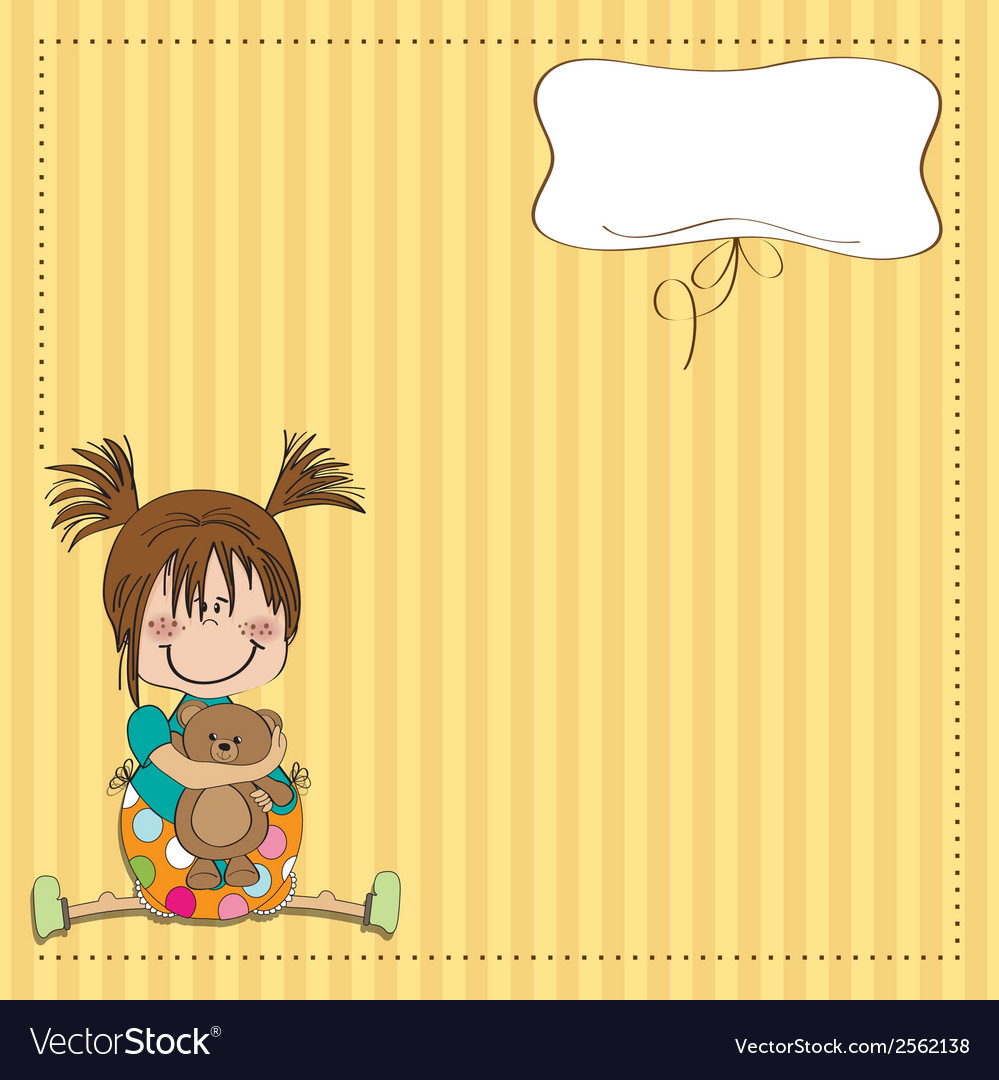 Little girl sitting with her teddy bear vector | Price: 1 Credit (USD $1)