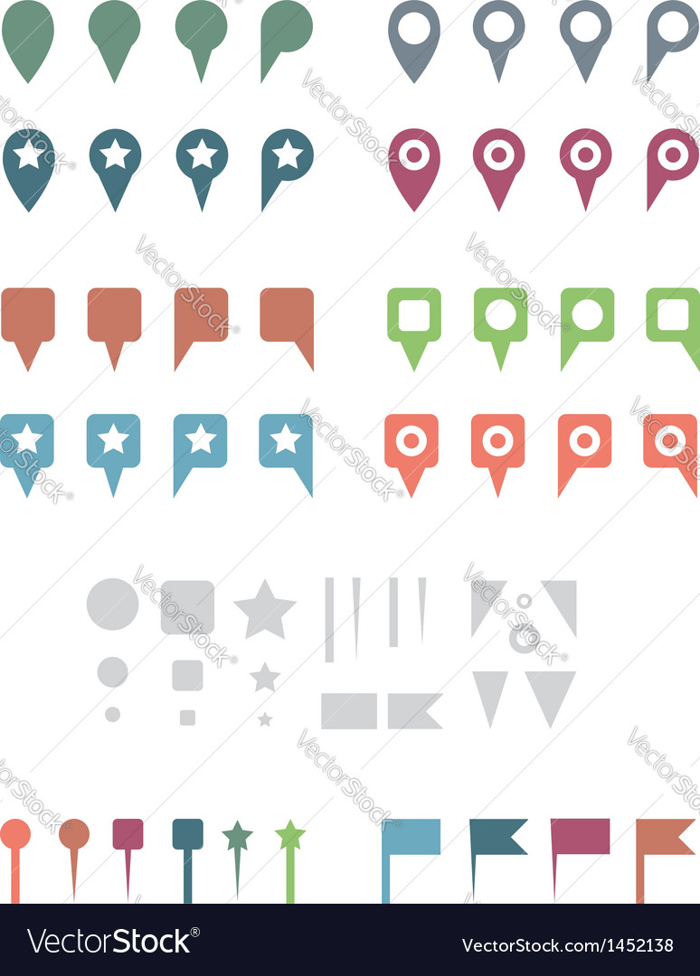 Map pins flat white vector | Price: 1 Credit (USD $1)