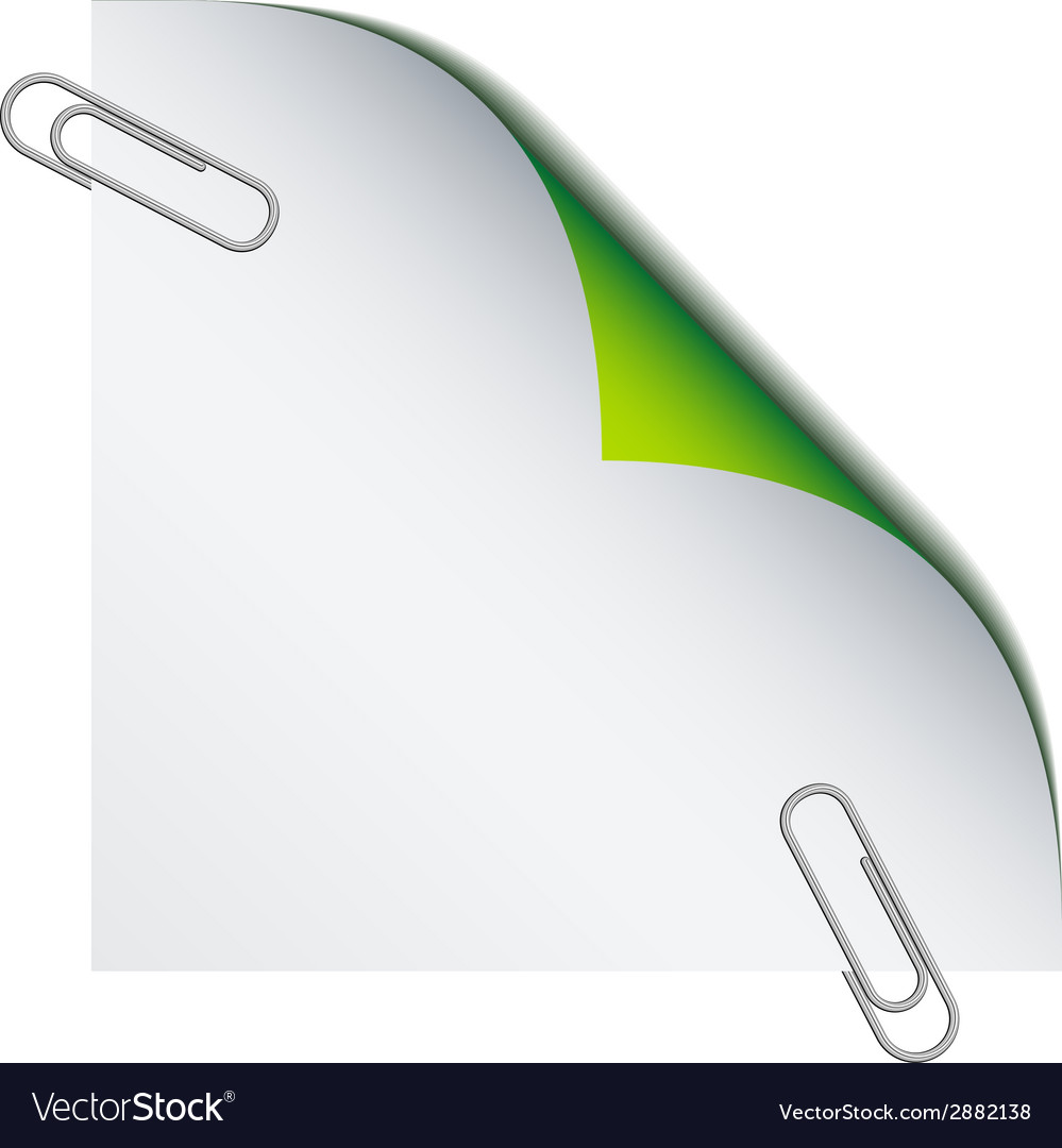 Paper with paperclips vector | Price: 1 Credit (USD $1)