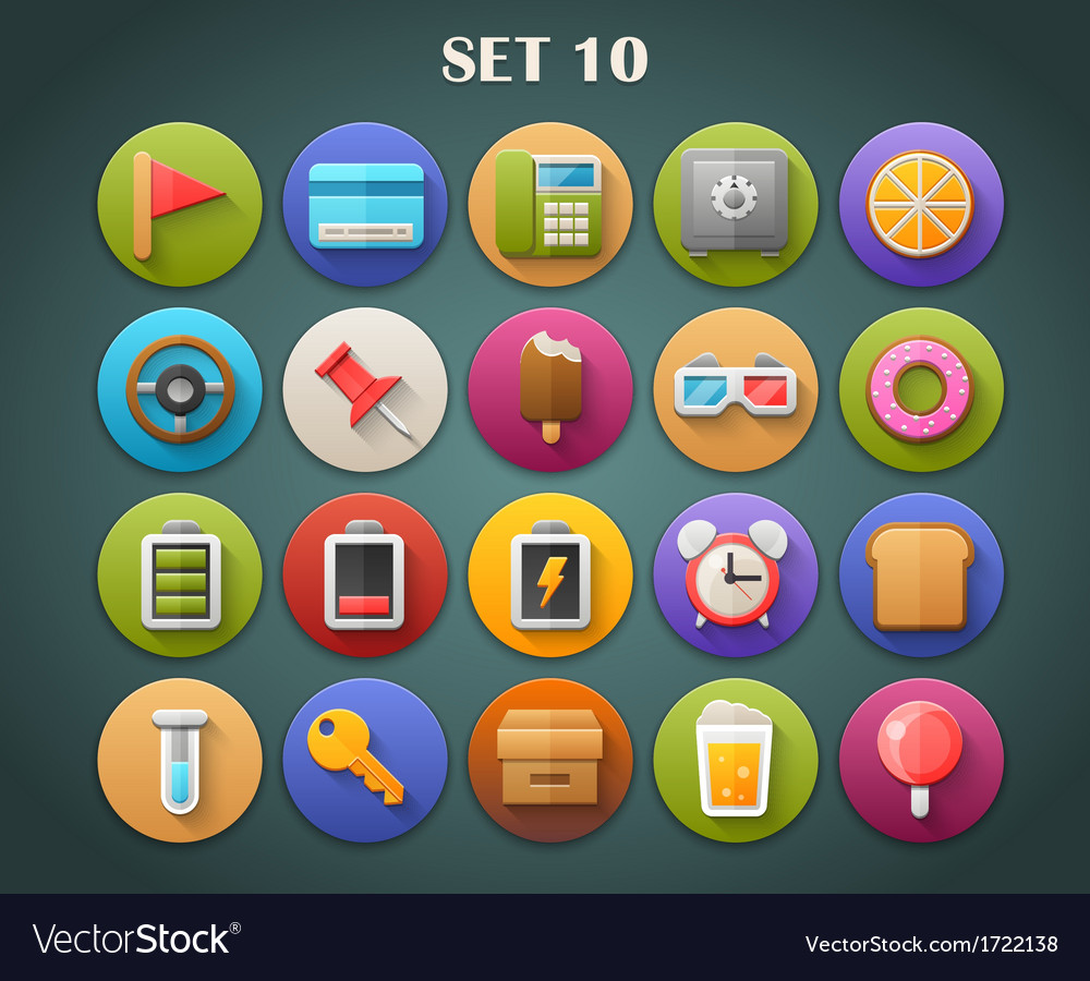 Round bright icons with long shadow set 10 vector | Price: 1 Credit (USD $1)