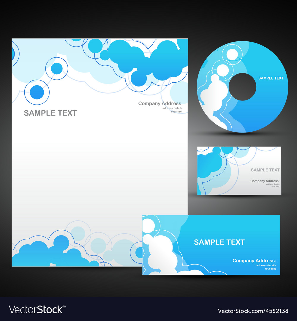 Set of business template in blue color vector