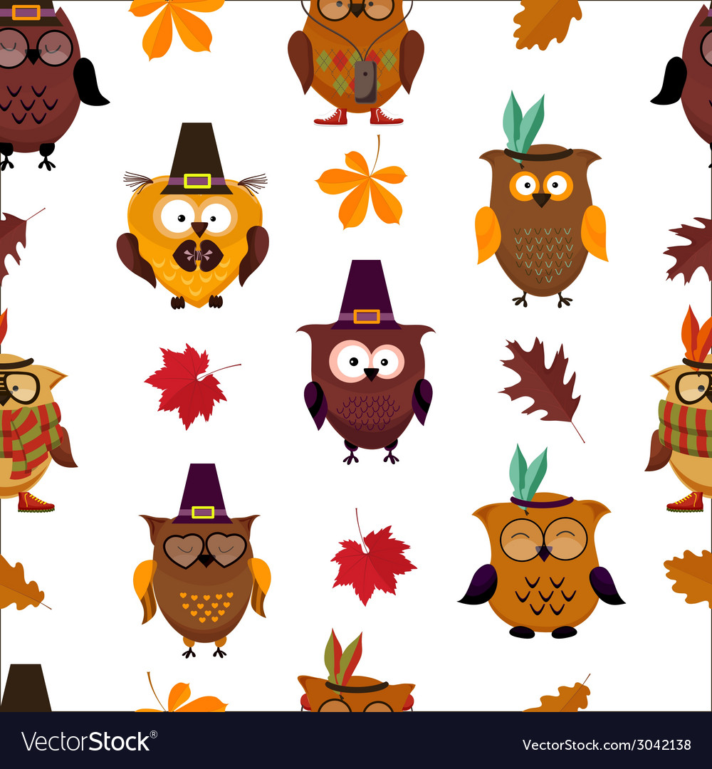 Thanksgiving day cute owl background vector | Price: 1 Credit (USD $1)