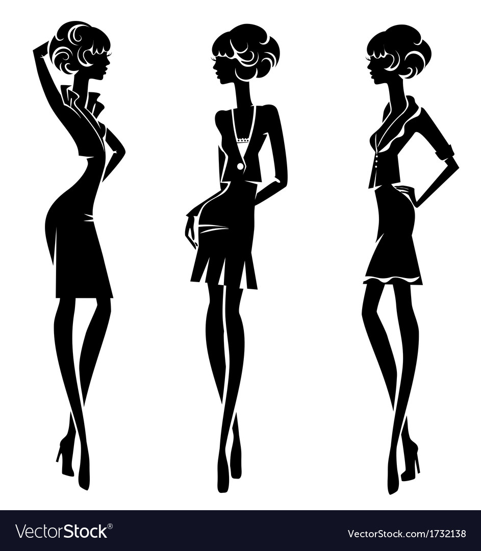 Three silhouette stylish girls isolated on a white vector | Price: 1 Credit (USD $1)