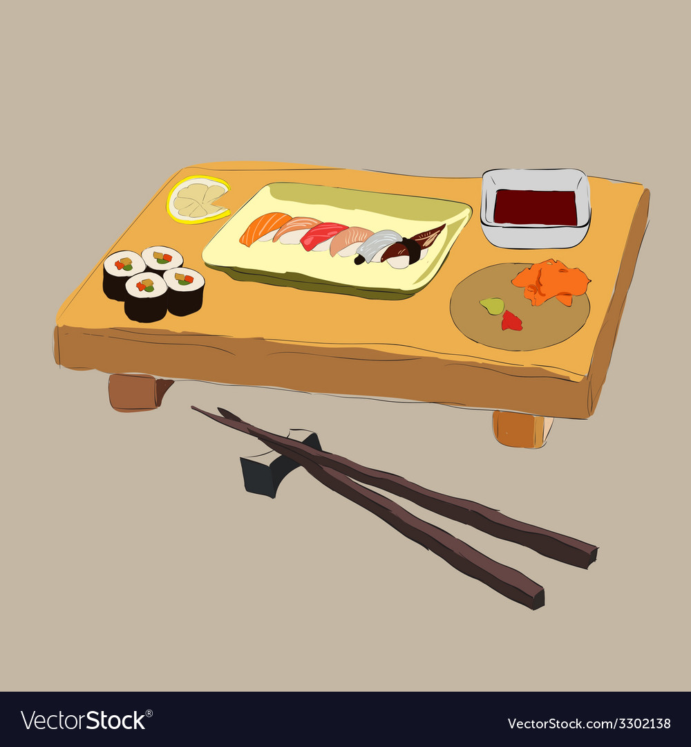 Various pieces of sushi vector | Price: 1 Credit (USD $1)