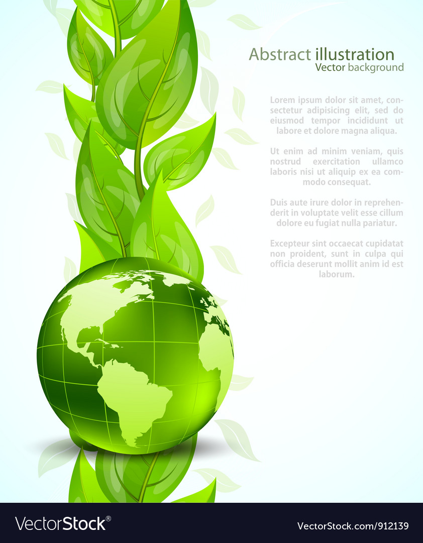 Background with globe end leaves vector | Price: 1 Credit (USD $1)