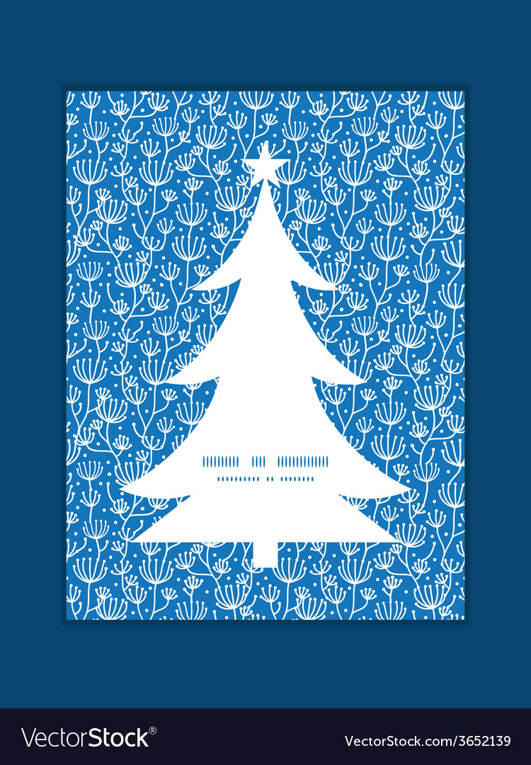 Blue white lineart plants christmas tree vector | Price: 1 Credit (USD $1)